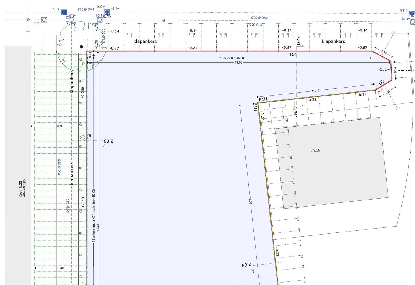 Damwand tekening en ontwerp