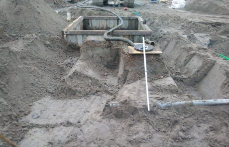 Houten damwand kuipen plaatsen